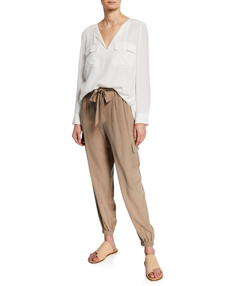 Petite Belted Silk Cargo Pants