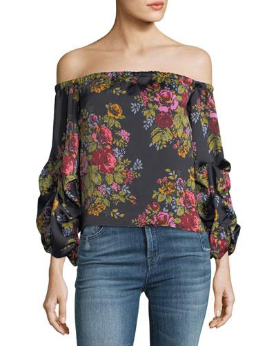 Dark Romance Ellis Off-the-Shoulder Floral-Print Satin Top