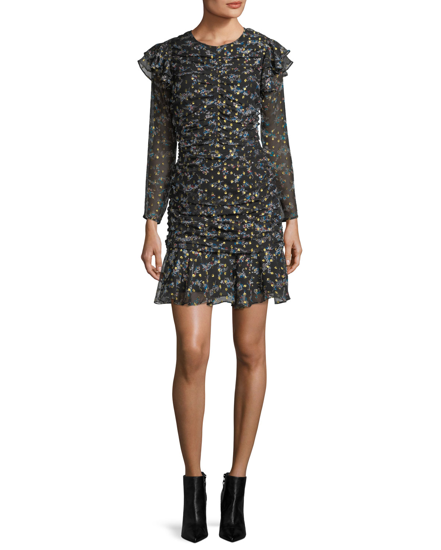 08e48d0fab0 Veronica Beard Parc Jewel-Neck Ruched Floral-Print Mini Dress ...