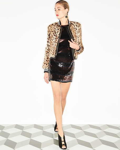Breakers Jewel-Neck Sequin Mini Dress
