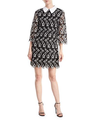 Debra Collared Lace-Guipure Tunic Dress