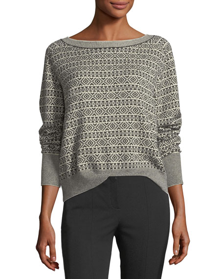 Theory Boat-Neck Jacquard Cashmere Sweater and Matching Items