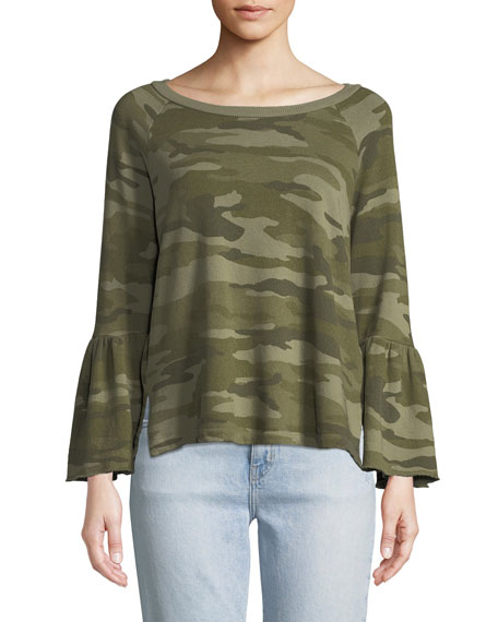 Current/Elliott The Ruffle-Sleeve Cotton Sweatshirt