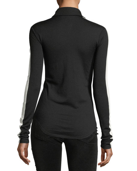 Ski Zip-Front Wool-Knit Top