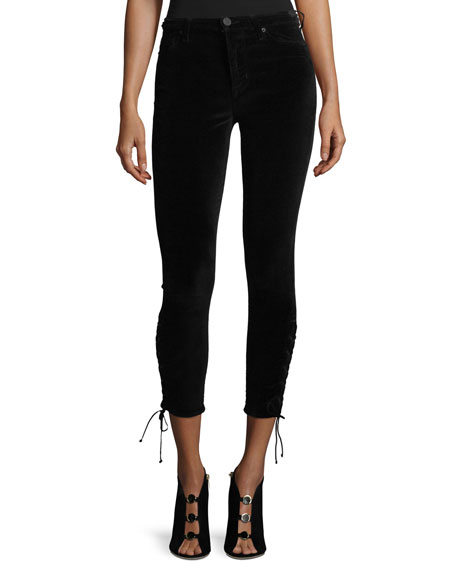 Hudson Nix High-Rise Lace-Hem Cropped Velveteen Pants