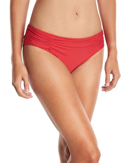 Hey There Shirred-Side Hipster Swim Bikini Bottom