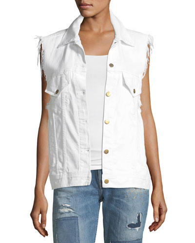 Patti Raw-Edge Button-Front Denim Vest