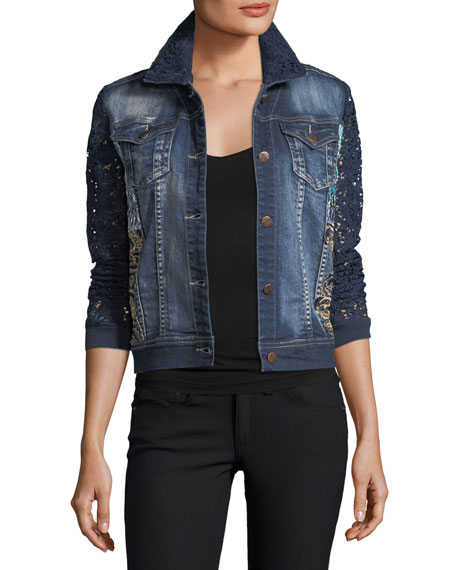 Berek Blues Temptation Lace & Denim Jacket, Plus