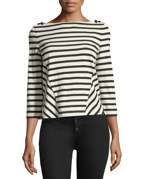 Image 1 of 3: Lincoln Striped 3/4-Sleeve Cotton Top