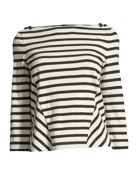 Image 3 of 3: Lincoln Striped 3/4-Sleeve Cotton Top