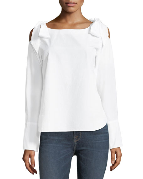 FRAME Round-Neck Bow-Shoulder Cotton Blouse