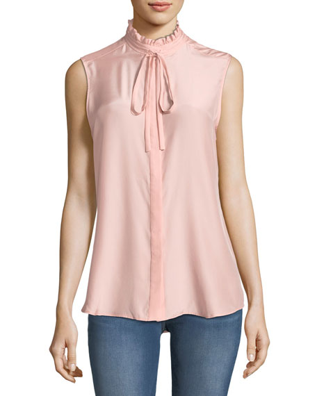 FRAME Ruffle-Neck Sleeveless Silk Blouse