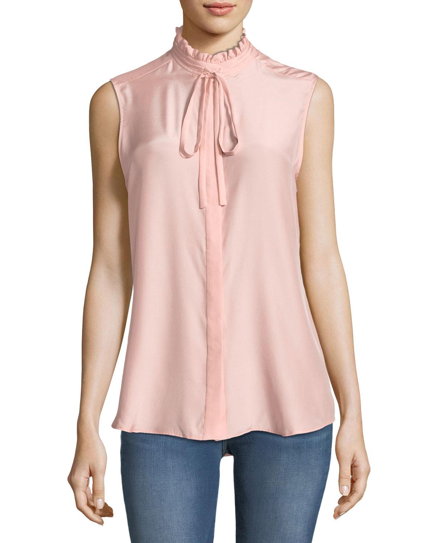 fea5bff62b59b7 FRAME Ruffle-Neck Sleeveless Silk Blouse | Neiman Marcus
