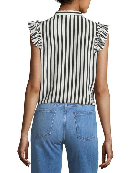 Sleeveless Striped Silk Blouse with Ruffled Trim