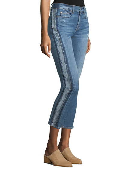 Roxanne Ankle Skinny Jeans w/ Frayed Tux Stripe