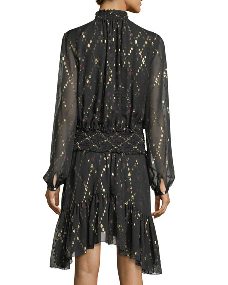 Tula Split-Neck Long-Sleeve Silk Metallic Dress
