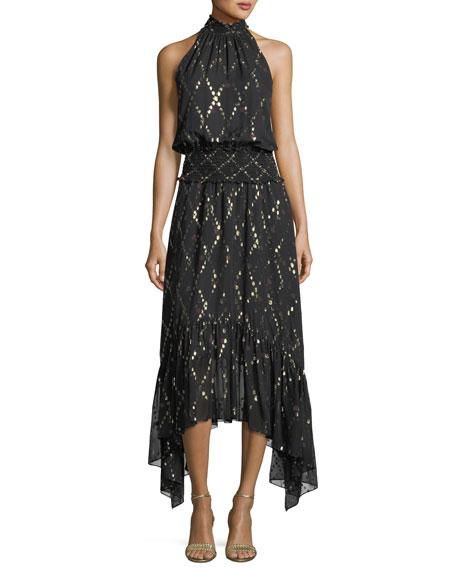 A.L.C. Easton Sleeveless Halter-Neck Long Chiffon Dress w/