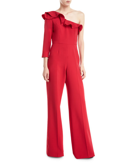Jay Godfrey Pogge One-Shoulder Ruffle Wide-Leg Jumpsuit