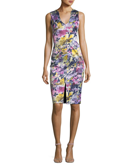 Black Halo Coral Sleeveless Floral-Print Sheath Dress