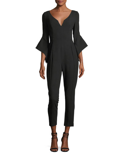 Warrior V-Neck Bell-Sleeve Slim-Fit Jumpsuit