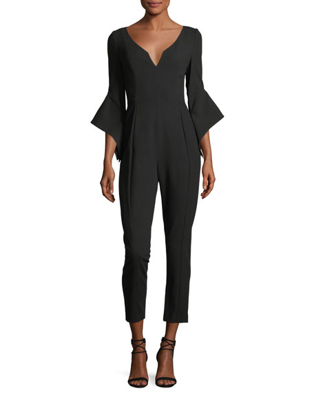 Black Halo Warrior V-Neck Bell-Sleeve Slim-Fit Jumpsuit