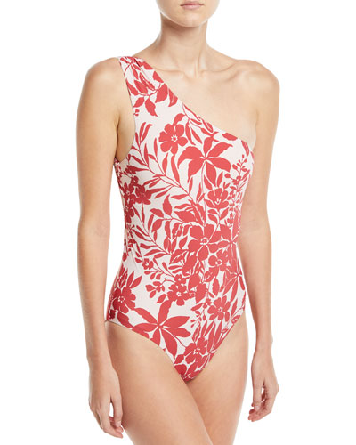 Shirred One-Shoulder Floral-Print One-Piece Maillot Swimsuit