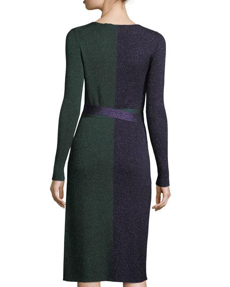 Long-Sleeve Metallic-Knit Wrap Dress