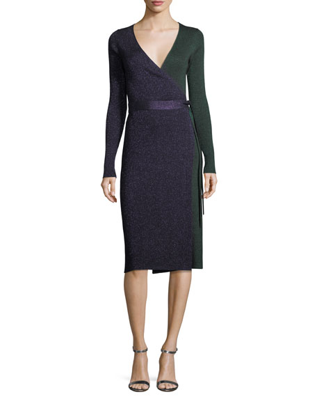 Diane von Furstenberg Long-Sleeve Metallic-Knit Wrap Dress