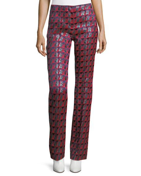 Diane von Furstenberg Woven Metallic Pleat-Front Pants