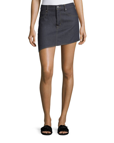 Asymmetric 5-Pocket Denim Skirt