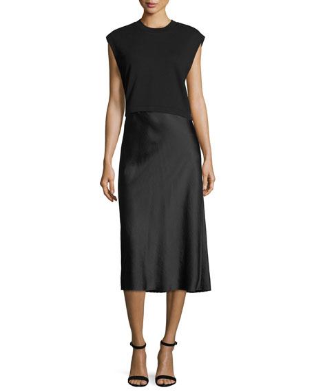 Wash Go Woven Satin A-Line Midi Skirt