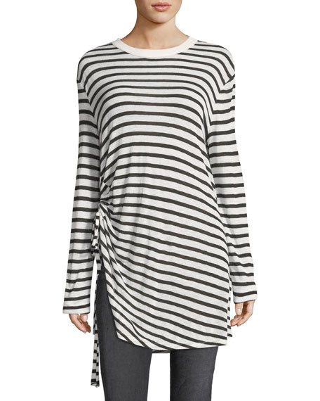 T by Alexander Wang Crewneck Striped Slub Jersey