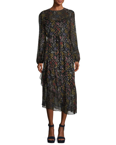 Asymmetric Floral-Print Long-Sleeve Dress