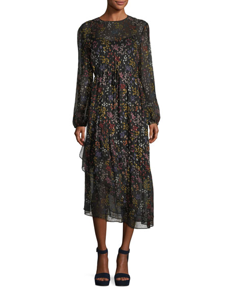 See by Chloe Asymmetric Floral-Print Long-Sleeve Dress