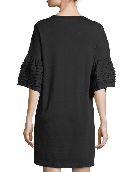 Bell-Sleeve Cotton Dress