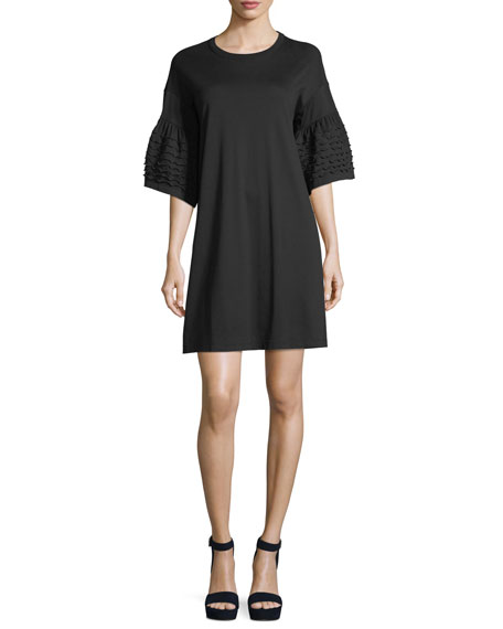 SEE BY CHLOE BLACK RUFFLE SLEEVES T-SHIRT DRESS