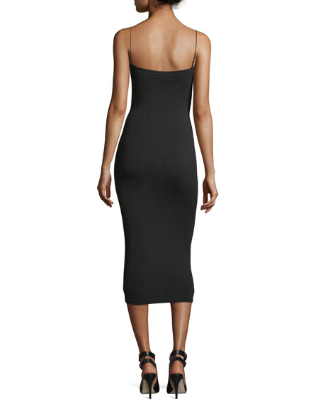 Stretch-Jersey Sleeveless Fitted Dress with Cutout and Ties