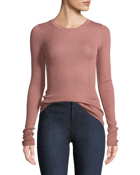 Rib-Knit Long-Sleeve Top