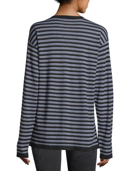 Wash Go Striped Crewneck Long-Sleeve Merino Wool Tee