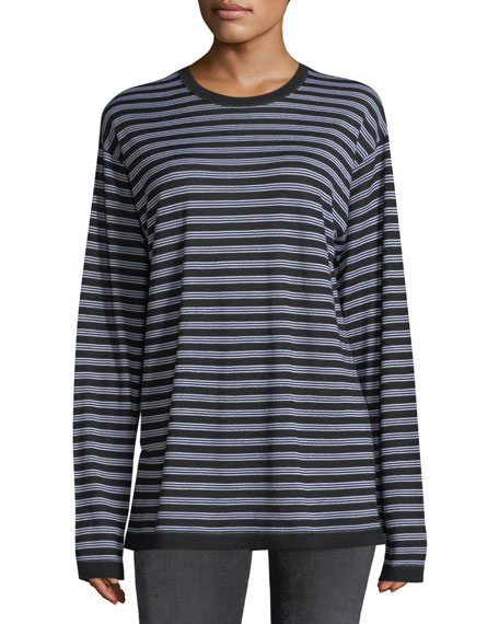 Wash Go Striped Crewneck Long-Sleeve Merino Wool Tee