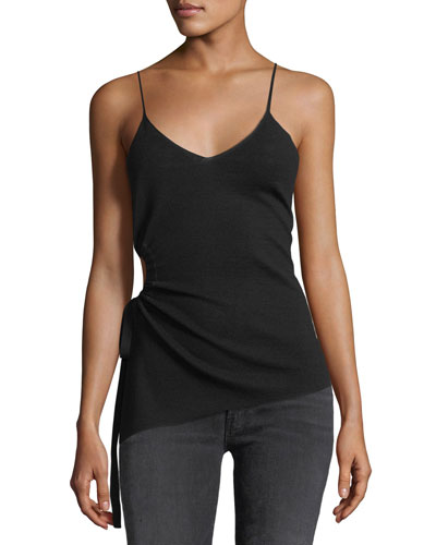 V-Neck Ruched Merino-Wool Camisole Top