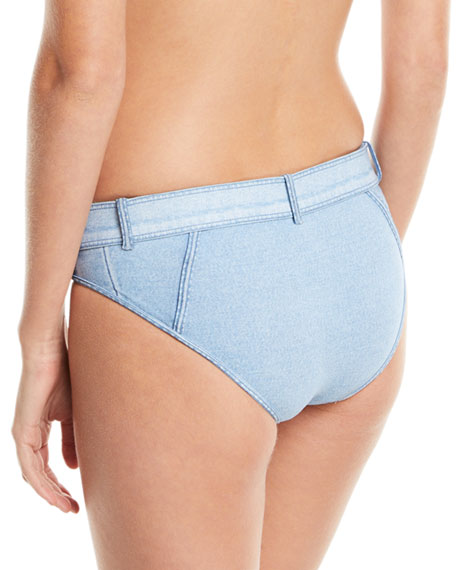 Denim Buckle Swim Bottoms