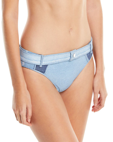 Denim Buckle Swim Bikini Bottoms