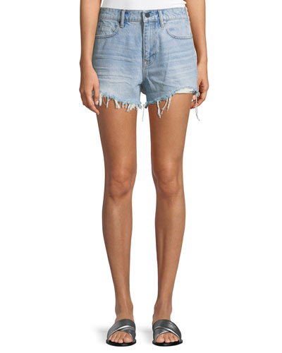 Bite Clash Mixed-Media French-Terry & Denim Cutoff Shorts