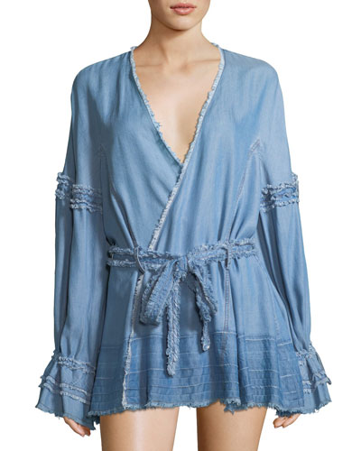 Long-Sleeve Wrap-Front Denim Top with Frayed Edges