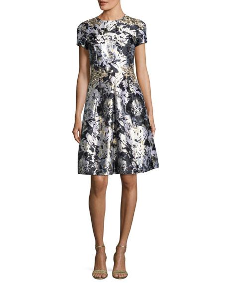 Embellished Metallic Floral-Print Cocktail Dress