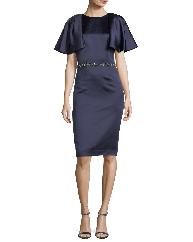 David Meister Capelet Short-Sleeve Jewel-Waist Dress   Neiman Marcus