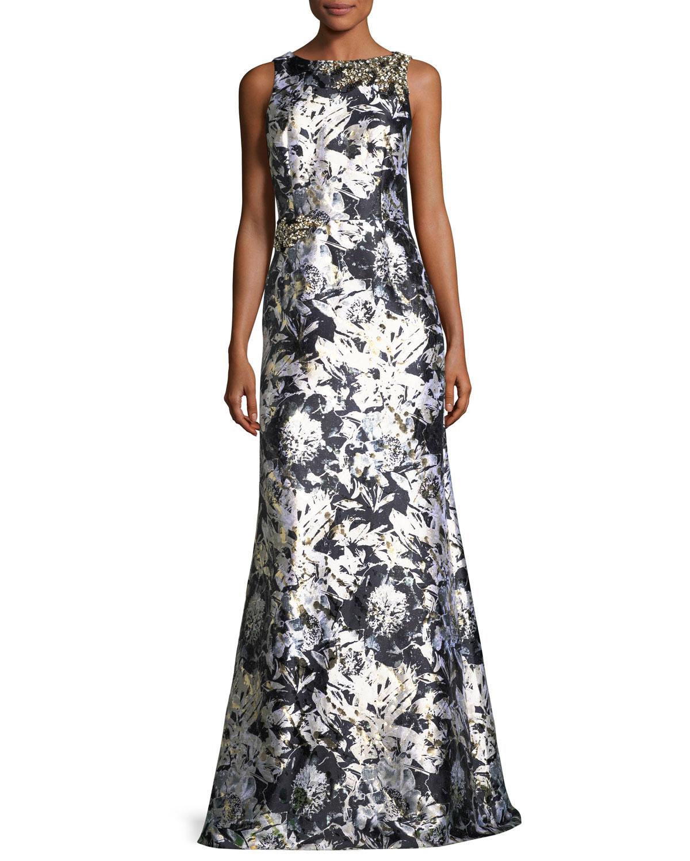 David Meister Metallic Floral-Print Satin Gown | Neiman Marcus