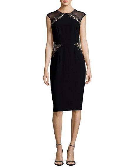 Illusion Cap-Sleeve Jeweled Sheath Dress