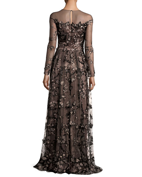 Long-Sleeve Floral Illusion Gown